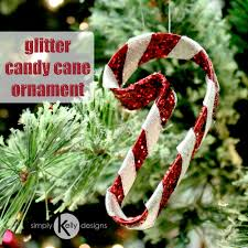 glitter candy cane christmas ornament simply kelly designs