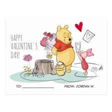 winnie the pooh valentines day kids valentines day postcards zazzle