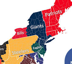 North East Usa Map by Nfl Fan Map Favorite Team By County Business Insider