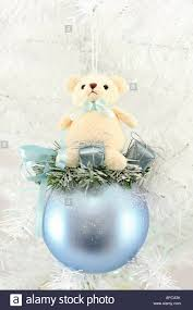 Large Blue Christmas Decorations by Large Blue Christmas Bauble With Tiny Teddy Bear Sitting On Top