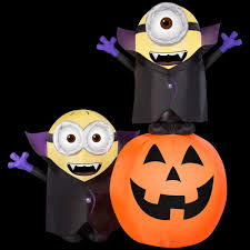 gemmy 6 5 ft inflatable lighted gone batty minion pumpkin scene