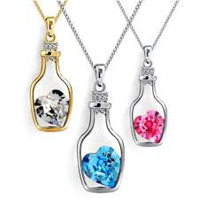 crystal heart pendant necklace images Drift bottle crystal heart pendant necklace myecosave fashion jpg