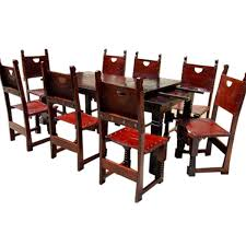 dining room table and chair set 9 pc rustic solid wood dining table and chair set w extension