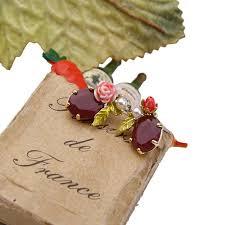 flower stud earrings wholesale fashion gem pink enamel flower stud earrings