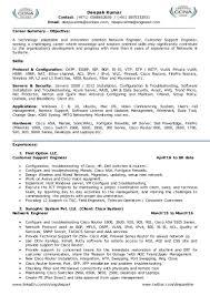 Network Administrator Resume For Fresher Cisco Network Engineer Resume Resume For Your Job Application
