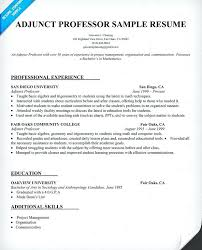 Resume Format For Experienced Assistant Professor Sample Adjunct Professor Resume Assistant Professor Resume Sample