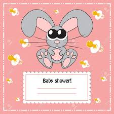 Babyshower Invitation Card Baby Shower Invitation Card With Rabbit Vector Royalty Free
