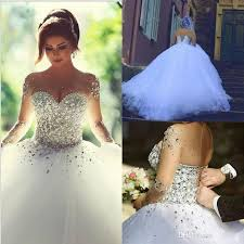 Wedding Dress Elegant Real Image 2015 Wedding Dresses Long Sleeves Crystal Quinceanera