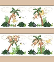 monkey wallpaper border decals wall art baby boy jungle animal