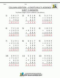 4th grade subtraction worksheets level 4 math printable column