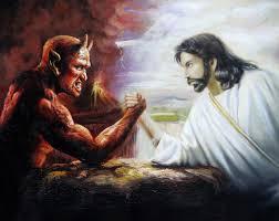 100 handpainted jesus and the devil arm wrestling 50x60cm portrait