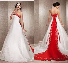discount chinese reception wedding dresses red and white a line
