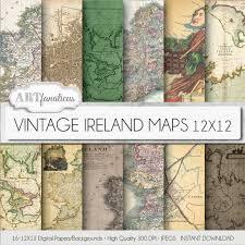 Etsy Maps Vintage Maps Digital Paper Vintage Ireland Maps