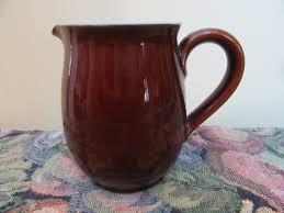 Denby Vase Pottery Denby Pottery Jug 1970s 300ml England Brown Blue