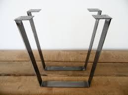28 trapezoid table legs flat steel height 26