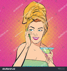 martini woman beautiful young woman drinking martini woman stock vector