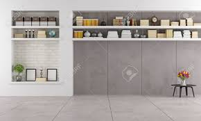 Modern Living Furniture Modern Living Room Wit Niche And Shelves Without Furniture