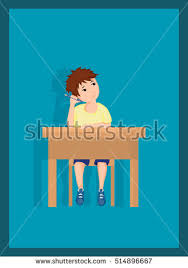 Picture Of Student Sitting At Desk Bored Male Student Sitting His Desk Stock Vector 514896667