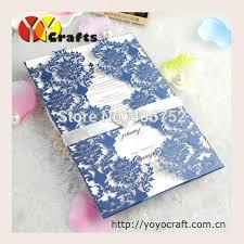 wedding invitations royal blue 50sets wedding invitation card royal blue color laser cut