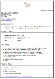 Sap Abap Resume Format Over 10000 Cv And Resume Samples With Free Download Perfect Cv