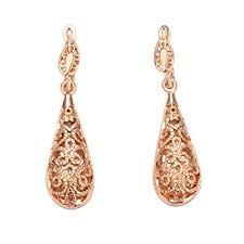 gold earrings uk swarovski elements copper with 18k gold plated drop