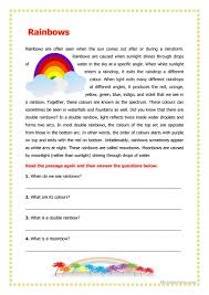 25 free esl rainbow worksheets