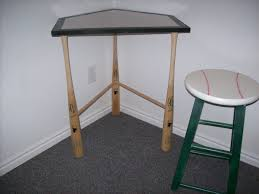 Baseball Bedroom Decor Homeplate Desk With Baseball Bats For Legs And A Stool With Seat