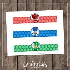 pj masks birthday party drink wrappers pj masks water bottle