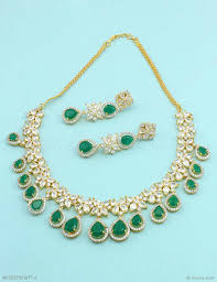 emerald green fashion necklace images Buy beautiful emerald green cz ad american diamond necklace set jpg