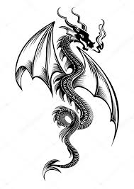 black winged tribal dragon tattoo u2014 stock vector surovtseva