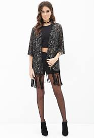 forever 21 contemporary metallic lace fringe kimono in black lyst