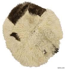 Round Fur Rug by K0009008 Beige Vintage Sheepskin Rug Kilim Rugs Overdyed