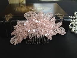 lace accessories bridal hair accessories wedding blush pink beaded