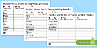 words one to twenty writing practice sheets write
