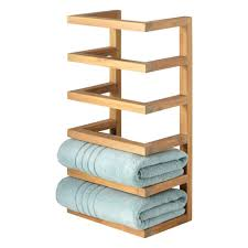 Bathroom Towel Display Ideas by Hotel Towel Rail Shelf Wall Mounted With Hanging Rack Space Saving