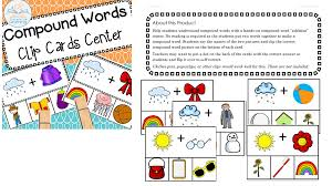 words cards compound words clip cards center line upon line learning