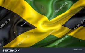 Jamaican Flag Day Jamaica Flag3d Waving Flag Designblackgreen Yellow Stock