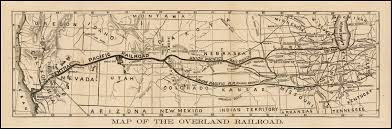 Central United States Map by 1866 Anonymous Map Of The Overland Railroad Early Central