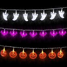 halloween ghost string lights halloween string lights set of 3 battery powered white ghosts