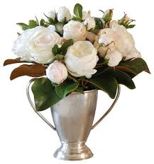 Silver Vase Champagne Roses And Magnolia Foliage In Silver Vase Traditional