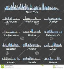 blue color palette united states largest cities skylines in tints of blue color