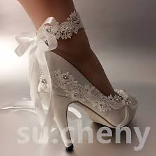 wedding shoes heels 3 4 heel satin white ivory lace ribbon ankle open toe wedding
