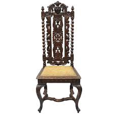 Throne Style Chair Renaissance Revival Figural Lion Carved Oak Barley Twist Tall
