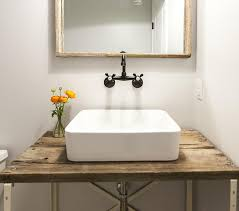 powder room sinks and vanities barn wood powder room vanity with vessel sink vintage bathroom