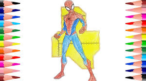 painting spiderman coloring pages kids color