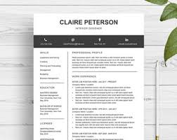 Template Resume Download Resume Template Etsy