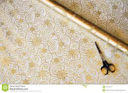 and gold christmas wrapping paper gold christmas gift wrap and scissorss stock image image of