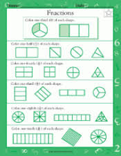 fractions of shapes 1 2 1 4 1 3 1 8 1 10 math practice