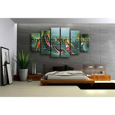 Dining Room Feng Shui Extra Large Koi Fish Painting On Canvas Dining Room Six Pieces Art