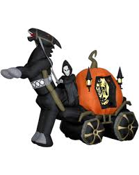 reaper in carriage airblown inflatable halloween yard decor